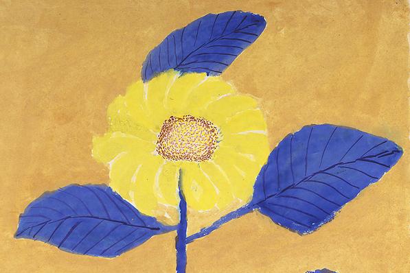 スマさんの書いたひまわりは葉っぱが青い